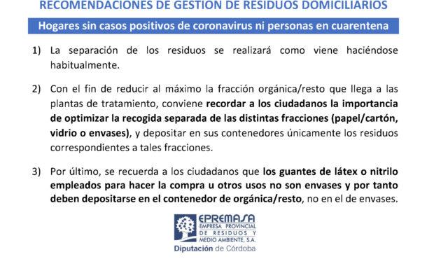 Recomendaciones de gestión de residuos en hogares #Covid19