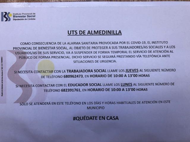 La Unidad de Trabajo Social de Almedinilla (UTS) atenderá temporalmente al público vía telefónica