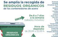 Se amplia la recogida de RESIDUOS ORGÁNICOS de los contenedores de acera