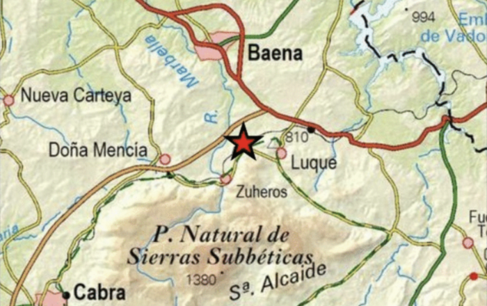 El Instituto Geográfico Nacional detecta un terremoto de 1,6 grados con epicentro en la localidad de Luque