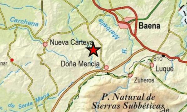 Un terremoto de baja intensidad registrado en el término municipal de Doña Mencía