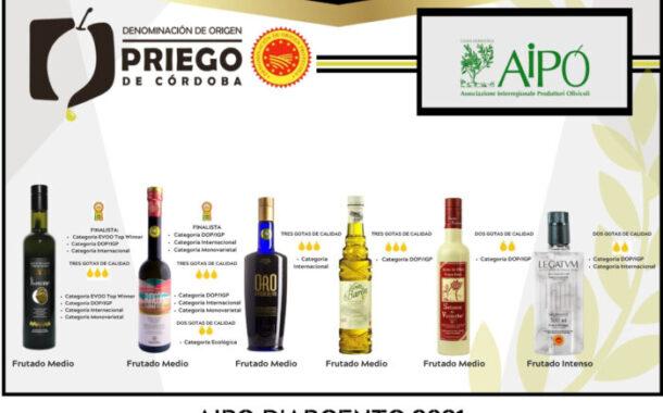 El Concurso Internacional AIPO D´Argento 2021 reconoce la calidad de los AOVE´s DOP Priego de Córdoba